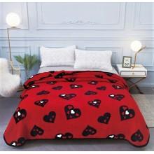 Patura Cocolino cu margine pentru pat dublu 200 x 230 Rosie cu inimi