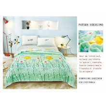 Patura Cocolino pufoasa pentru pat dublu 200 x 230 cm Verde cu flori